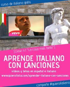 Aprender italiano con canciones? Hoy puedes hacerlo en Quiero Italia. Publicamos…