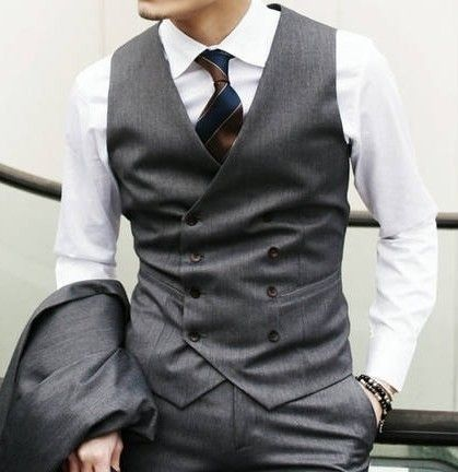 Men's Casual Double-breasted Vests Black Grey Sleeveless Vests 154 Free Freight                                                                                                                                                                                 More