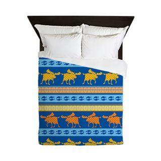 Golden Moose Blue duvet by sparkheadkids.com by sparkheadkids.com