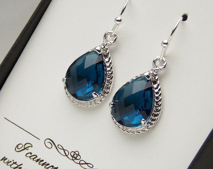 Azules marino pendientes, pendientes de la marina de guerra de Dama de honor, joyería de la boda, boda azul marina azul oscurezca, plata, joyería de Dama de honor, regalos de Dama de honor, vidrio