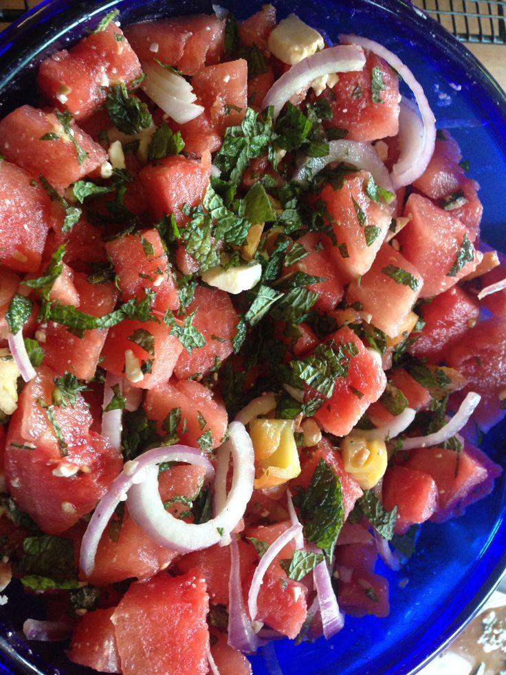 Foto recept: Salade met watermeloen, feta en verse munt