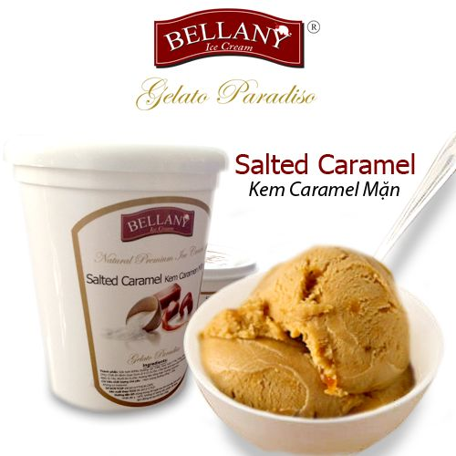 """Salted caramel - a luxurious rich taste come from cultural Brittany village, France. The subtle combination of caramel creating a beautiful brown color made from a mixture of cooking cream, milk and sugar plus a pinch of sea salt that is the key to make this flavor become an addictive one. Surely if someone was """"fall in love"""" with this flavor, could'nt decline a smooth and rich Bellany Salted Caramel. #saltedcaramel, #kemcaramenman, #kemcaocap, #bellanyicecream"""