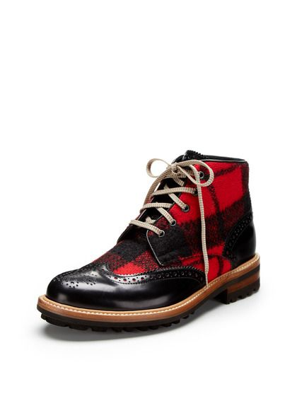 Black and Red Wool and Leather Brouge Style Boot, by DSquared. Men's Fall Winter Fashion.