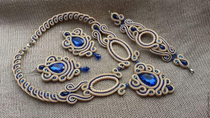 """Купить Колье , серьги и браслет """"Мерцание"""" - синий цвет, Браслет ручной работы…"""