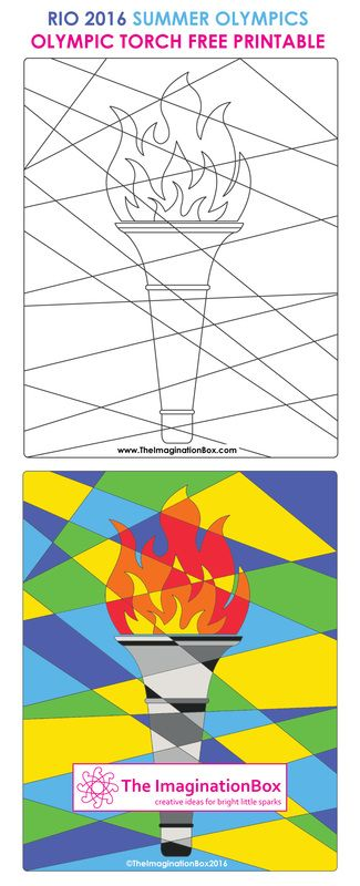 The Imaginationbox: get in the Rio 2016 Olympic spirit, with this abstract Olympic Torch, free arts and crafts printable template. Invite kids to explore colour, shape and pattern - available to download at The ImaginationBox