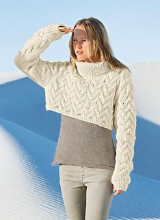 868 Short Sweater with Thumb-Hole Sleeves by Bergère de France  - Find and download the FREE English pattern instructions here: