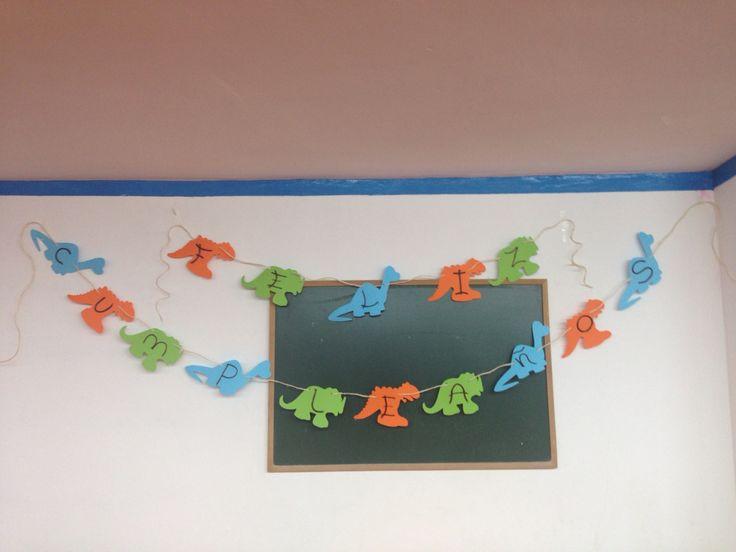 Dinosaurios birthday! Guirnalda personalizada, colores, cumpleaños de niño