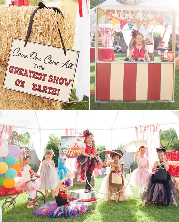 Under the Big Top Circus Party {+ Kids Costumes} // Hostess with ...  Birthday party ideas-- invitations, decorations, cupcakes, cake, cake pops, printables,