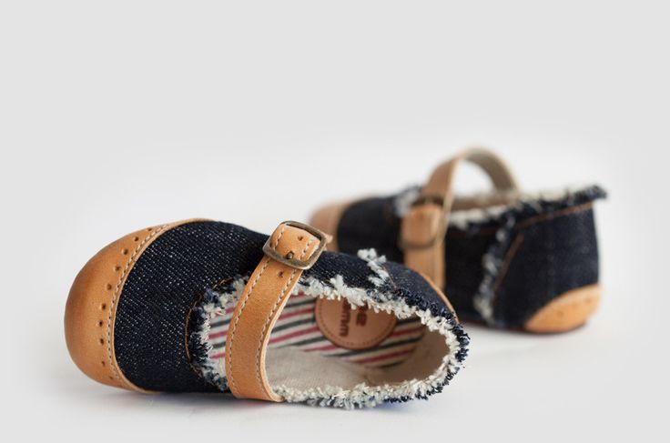 BLUE JEAN MARY JANE BABY SHOES—Hard to resist baby Mary Jane shoes crafted from premium Italian denim with natural leather details. The big kids will definitely be jelly.
