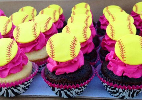 Softball Cupcake Toppers by FondantFantasy on Etsy, $12.00
