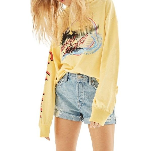 Women's Topshop Wave Riders Hoodie ($50) ❤ liked on Polyvore featuring tops, hoodies, yellow multi, yellow top, yellow hoodies, beige top, light weight hoodies and hooded pullover