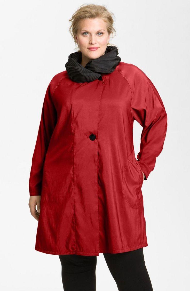 Red Mycra Pac Designer Wear Reversible Scrunch Neck Travel Coat Plus Size