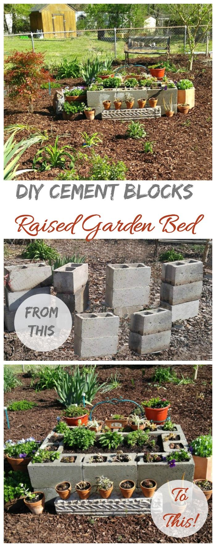 This cement block raised garden bed is simple to make and turns trash into treasure. It's perfect for growing succulents!