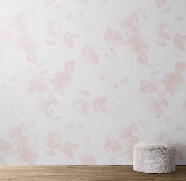 Watercolor Floral Removable Wallpaper Mural Pink Removable Wallpaper Nursery Pink Removable Wallpaper Girls Room Wall Art