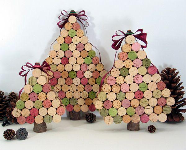 Inspiracion - Enfeites de Natal - Árvores feitas com rolhas de vinho