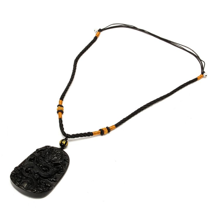 Black Obsidian Carved Dragon Pendant Necklace is cool and personalized - NewChic