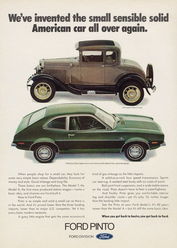1972 Ford Pinto 2-Door Sedan Car Ad 1930 Model A Deluxe Coupe Automobile Photo Vintage Advertising Print Wall Art Decor by AdVintageCom on Etsy https://www.etsy.com/listing/245450083/1972-ford-pinto-2-door-sedan-car-ad-1930