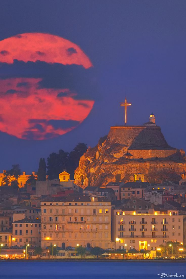 Supermoon above Corfu, Greece
