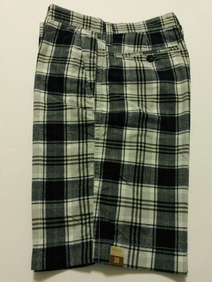 "Sonoma Mens Plaid Shorts Size 30 Black Gray & White Pants 11"" Inseam Flat Front #Sonoma #CasualShorts"