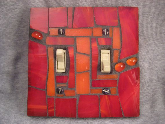 Mosaic Stained Glass Switch Plate Cover--Red and Orange