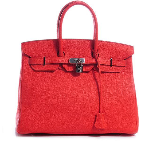 Fashionphile HERMES Togo Birkin 35 Capucine ❤ liked on