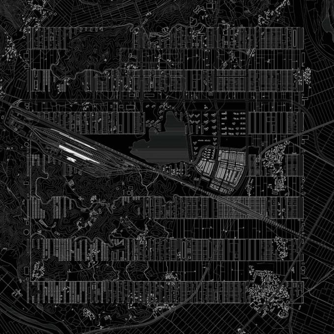 Fields, Gardens and Workshops. Proposal for Osong Bio Valley, 2011, by Pier Vittorio Aureli-DOGMA. Click above to see larger image.
