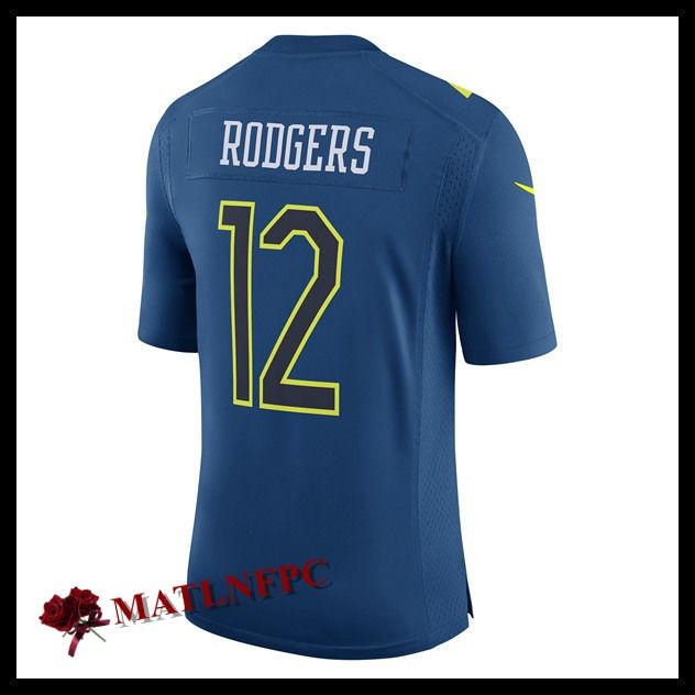 Maillots de NFL Green Bay Packers pas cher, Maillots NFL Aaron Rodgers 2017 Pro Bowl Green Bay Packers Marine Homme