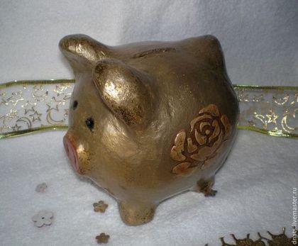 "Копилка-свинка ""Розочка"" - золотой,копилка,свинка,свинья,хрюшка,хрюша"