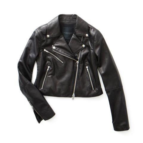 Клуб Монако Rimone подходят обрезанные кожаная куртка, $995; clubmonaco.com