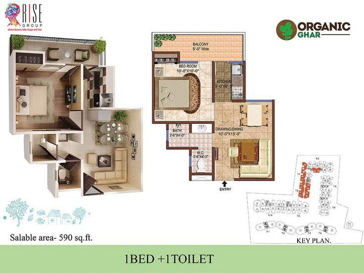https://flic.kr/p/Ab6v44 | 1 BHK Floor Plan | View the Rise Organic Ghar 2 BHK 590 sq.ft. floor plan