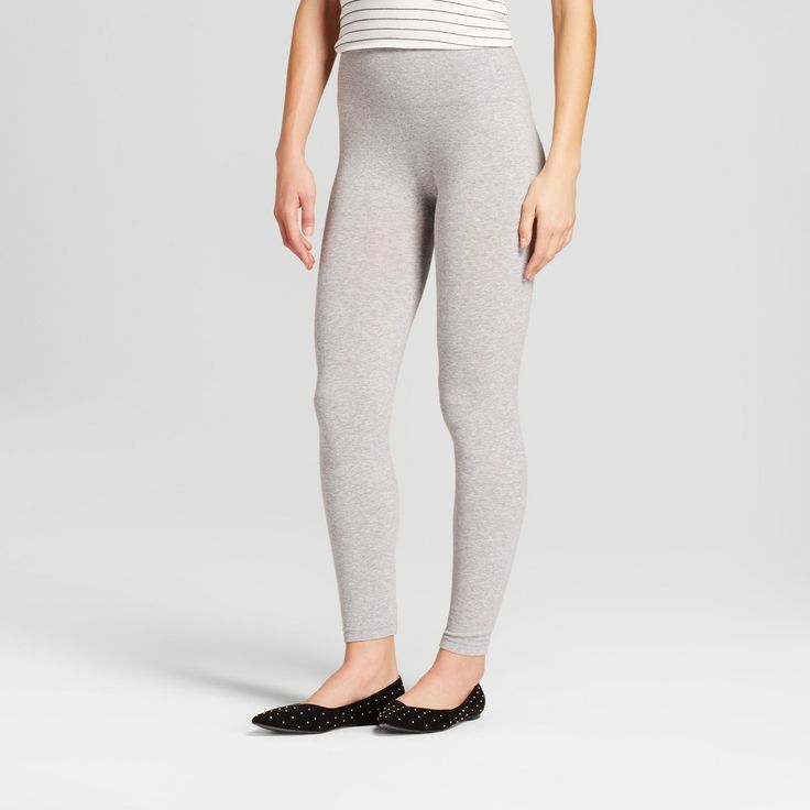 Women's Cotton Blend Seamless Leggings with 5 Waistband - A New Day Charcoal Heather L/XL, Gray