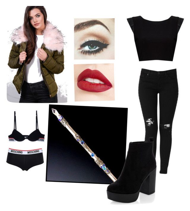 """Shadow hunter - Nicola Bane"" by gemma-mawdsley ❤ liked on Polyvore featuring Moschino, Alice + Olivia, Jouer, Hudson Jeans and New Look"