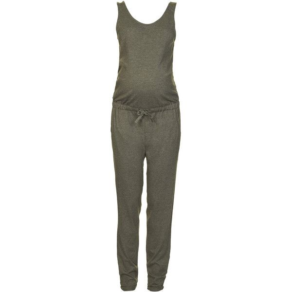 TOPSHOP MATERNITY Jersey Jumpsuit ($21) ❤ liked on Polyvore featuring maternity, maternity clothes and khaki