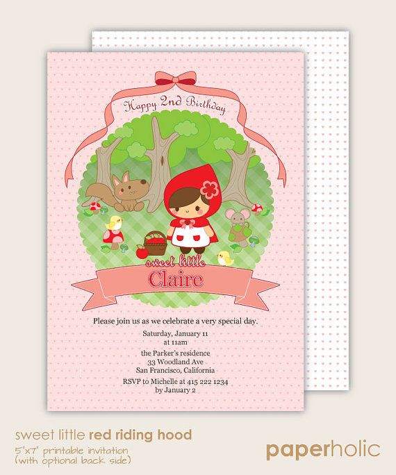 Sweet little Red Riding Hood party invitation - custom made paper printable