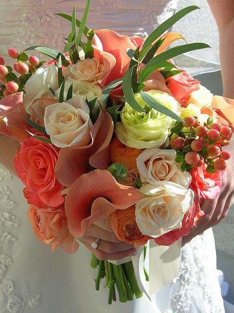 Coral Wedding Bouquet by FreshFromStems, via Flickr