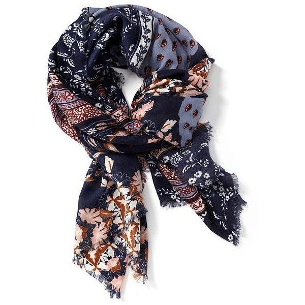 Old Navy Printed Raw Edge Scarf ($15) ❤ liked on Polyvore featuring accessories, scarves, blue, old navy, blue scarves, old navy scarves, lightweight scarves and blue shawl