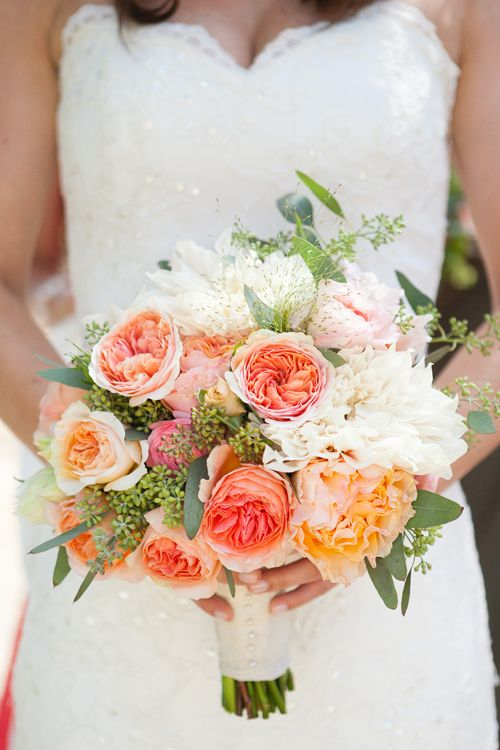 peachy garden rose, ranunculus and dahlia bouquet by Julie Stevens Design