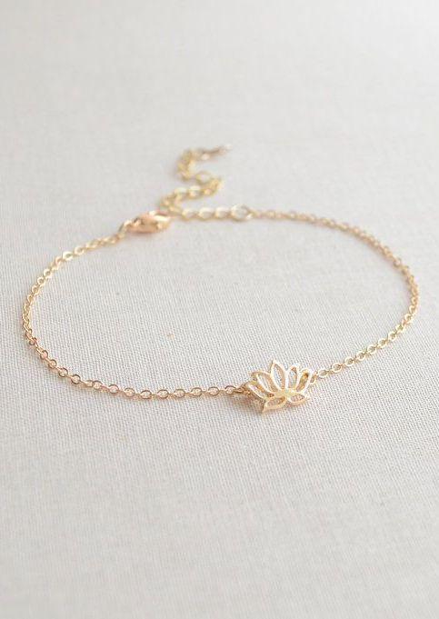 Lotus flower bracelet  gold or silver flower