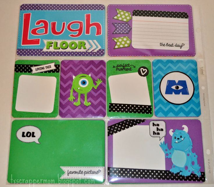 Tx Scrapper Mom - Monsters Inc. Laugh Floor Disney project life layout, svg cutting files, Dilo en Espanol