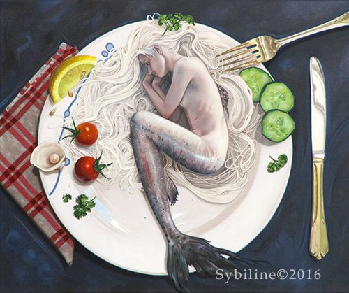 By Sybiline oil painting mermaid