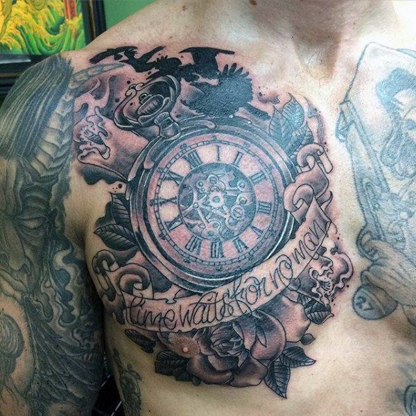 Marvellous Pocket Watch Tattoo With Label On Chest For Guys Watch Tattoo Design Pocket Watch Tattoos Watch Tattoos