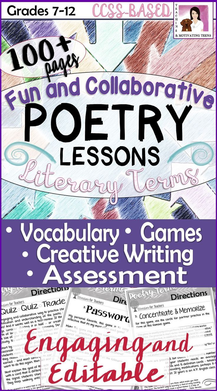Over 100 pages of engaging resources for even the most reluctant reader of poetry. Includes all editable student handouts: Poetry Terms & Definitions Word List (For Games, Review, Etc.) Quiz Quiz Trade Concentrate & Memorize Password Famous First Lines Poetry Pass (More-Than-a) Word Search Writing Couplets Quiz as Formative Assessment Coffee House Performance Poetry Pack