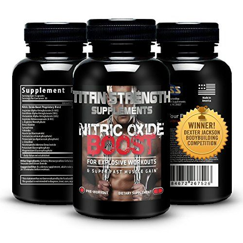 Top Nitric Oxide Booster 120 Capsules. Competition Winning. Muscle Building Nitric Oxide Supplement   L-Arginine. Gives Muscle Building Workouts   Increase Workout Endurance. Guaranteed Most Effective Muscle Building with 30 Day 'Happy Customer' GUARANTEE from Titan Strength Supplements. RECOMMENDED
