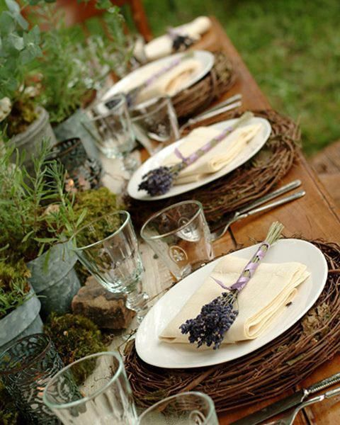 Simple garden themed tablescape with lavender!