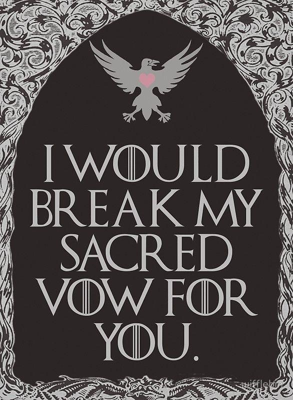 Sacred Vow by wifflebin  Cute Game of Thrones valentine card.   #gameofthrones, #got, #valentinesday, #valentine
