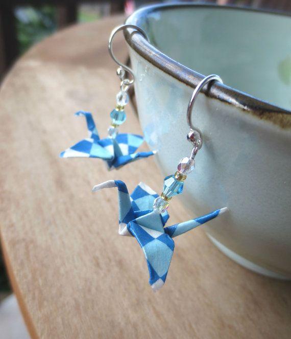 Origami Earrings - Blue & White Crane earring, origami jewelry, fun earring, cute teen earring