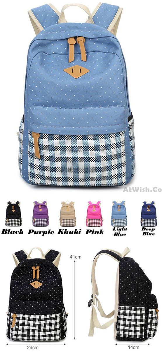 Fresh Girl's Canvas Wave Point Splicing Black White Plaid Large College Travel Backpack for big sale! #large #college #travel #backpack #Bag #student