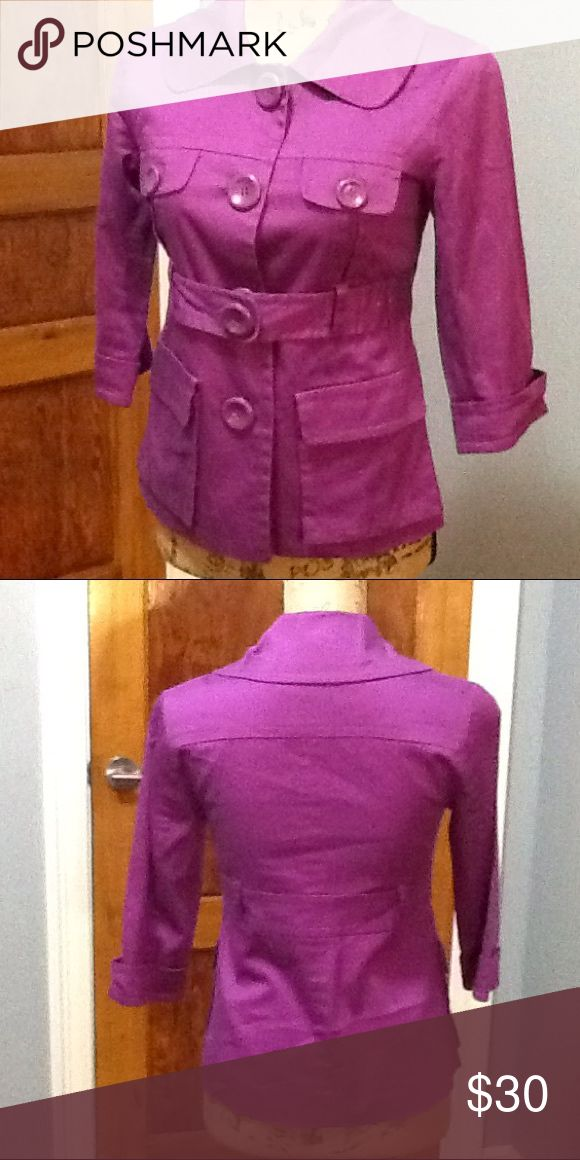Kensie purple trench coat Kensie purple trench coat . Features 4 pockets in total . Two on top and two on bottom. In good condition size xs Kensie Jackets & Coats Trench Coats