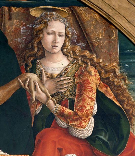 Magdalena (detall)  Carlo Crivelli – Cristo morto sorretto da San Giovanni Evangelista, la Vergine e Santa Maria Maddalena, 1493 - See more at: http://www.artslife.com/2014/04/25/giovanni-bellini-la-nascita-della-pittura-devozionale-umanistica-pinacoteca-di-brera/#sthash.KmW43rum.dpuf