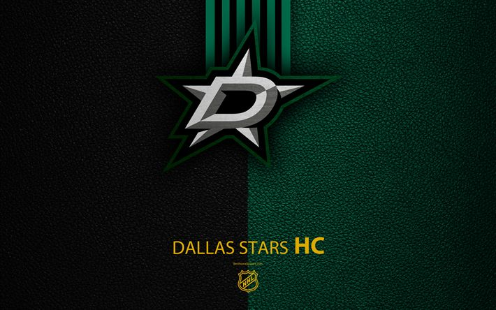 Download wallpapers Dallas Stars, HC, 4K, hockey team, NHL, leather texture, logo, emblem, National Hockey League, Dallas, Texas, USA, hockey, Western Conference, Central Division